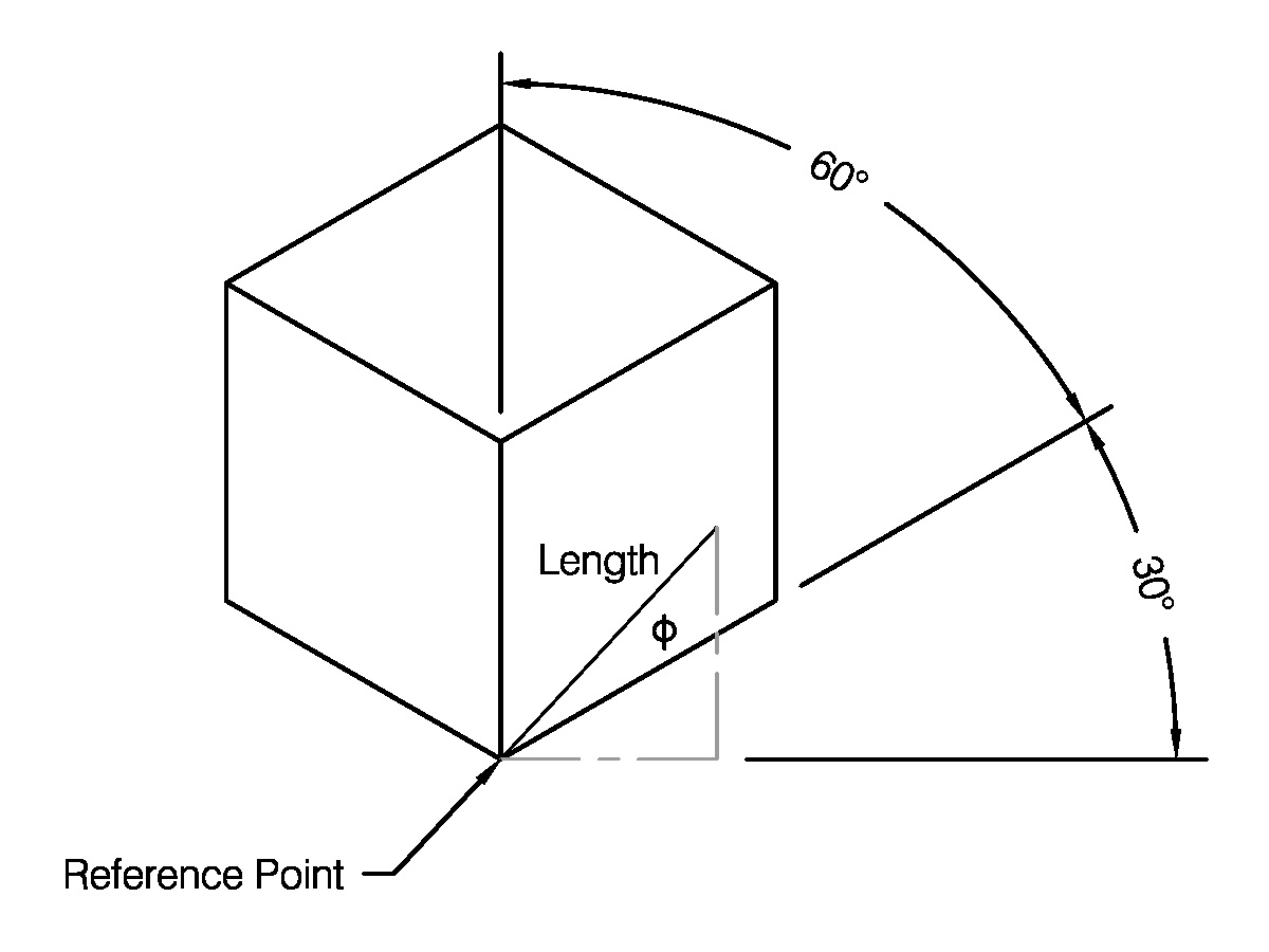 The angle to be produced shown against an isometric cube, with reference points and angles shown.